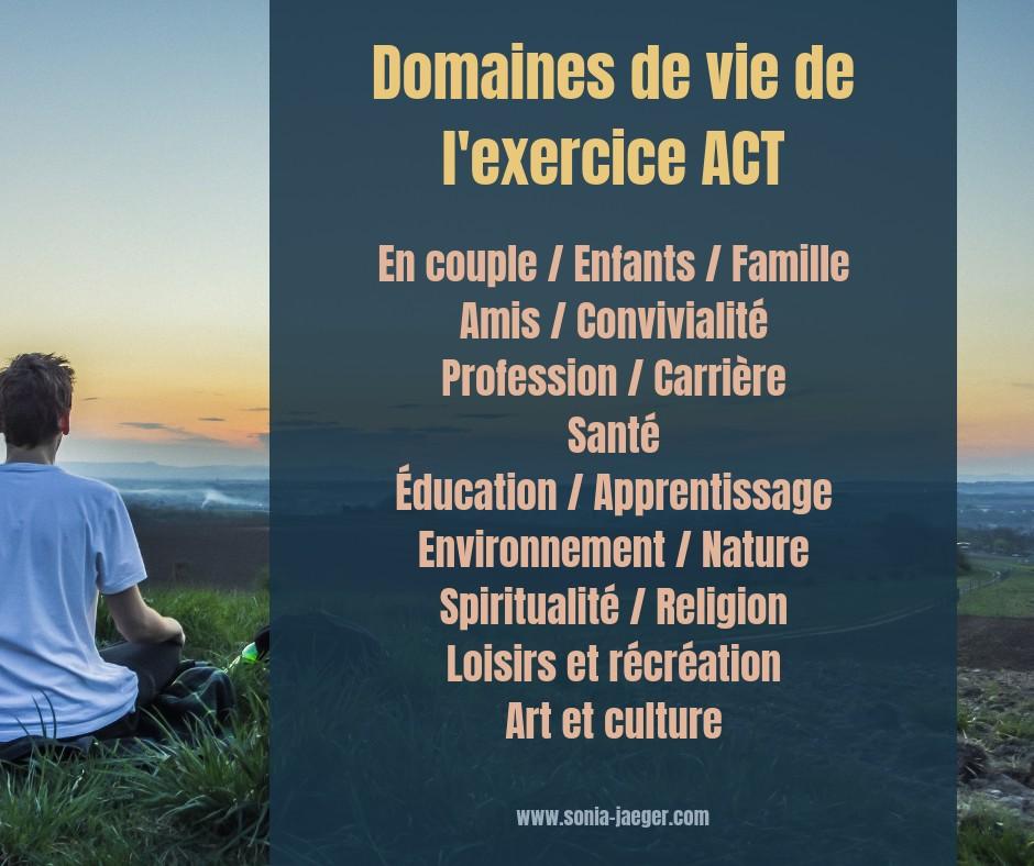 exercise ACT pour les différents domaines de la vie
